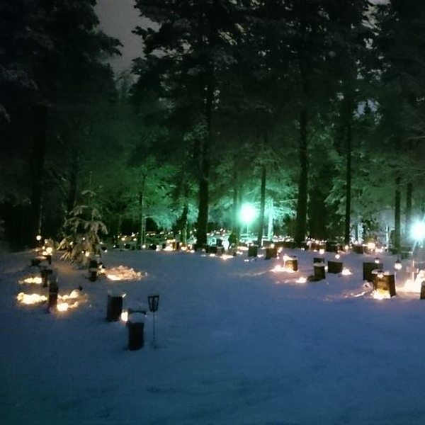 Candles in a Cemetery